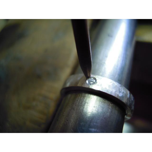 プラチナ 結婚指輪【本物の鍛造】打ち出した槌目が力強い!強度と耐久性に優れた鍛造デザイン!ダイヤ入り kouki 19