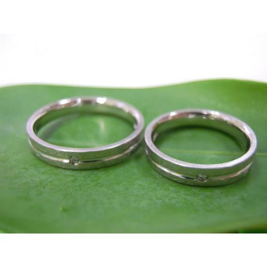 プラチナ 結婚指輪【本物の鍛造】打ち出した槌目が力強い!強度と耐久性に優れた鍛造デザイン!ダイヤ入り kouki 04