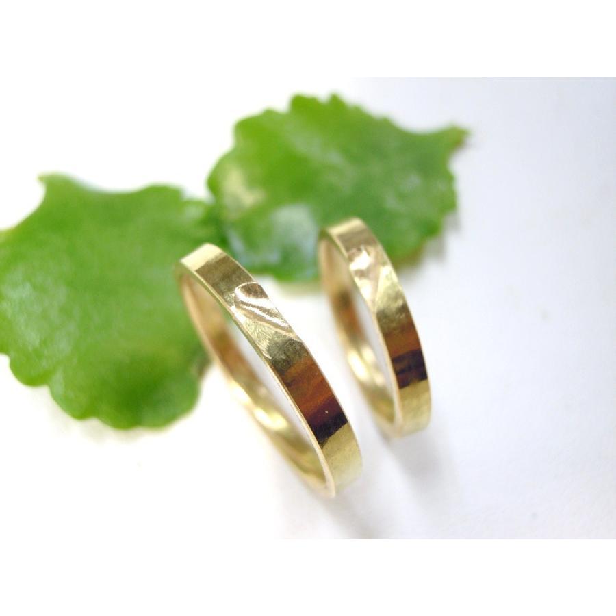 ゴールド 結婚指輪【本物の鍛造】浅めの槌目が繊細で美しい!艶消し平打ちデザインにハート彫り|kouki|21