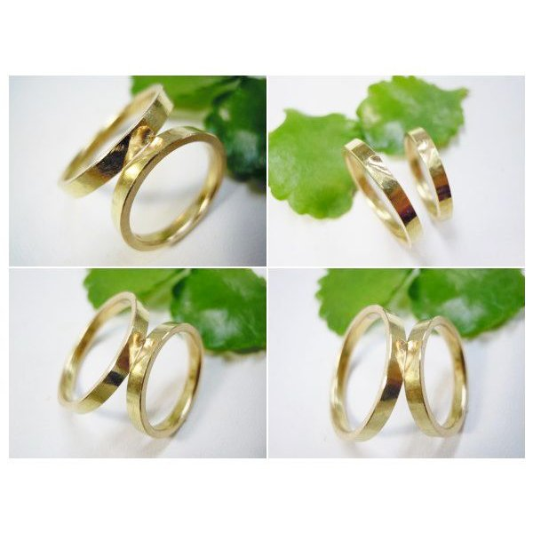 ゴールド 結婚指輪【本物の鍛造】浅めの槌目が繊細で美しい!艶消し平打ちデザインにハート彫り|kouki|05