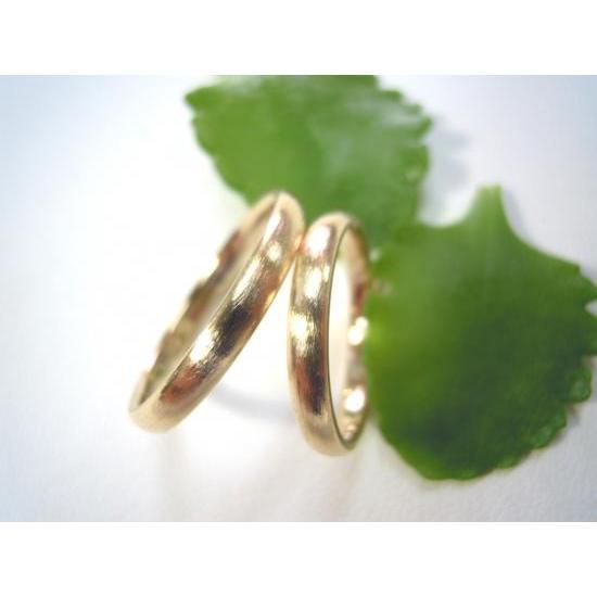 ゴールド 結婚指輪【本物の鍛造】k18荒仕上げのシンプルな甲丸リング&内甲丸で最高の着け心地! kouki