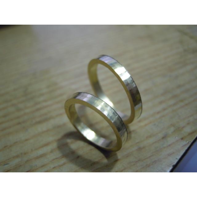 ゴールド 結婚指輪【本物の鍛造】k18荒仕上げのシンプルな甲丸リング&内甲丸で最高の着け心地! kouki 18