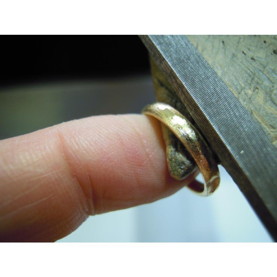 ゴールド 結婚指輪【本物の鍛造】k18荒仕上げのシンプルな甲丸リング&内甲丸で最高の着け心地! kouki 20