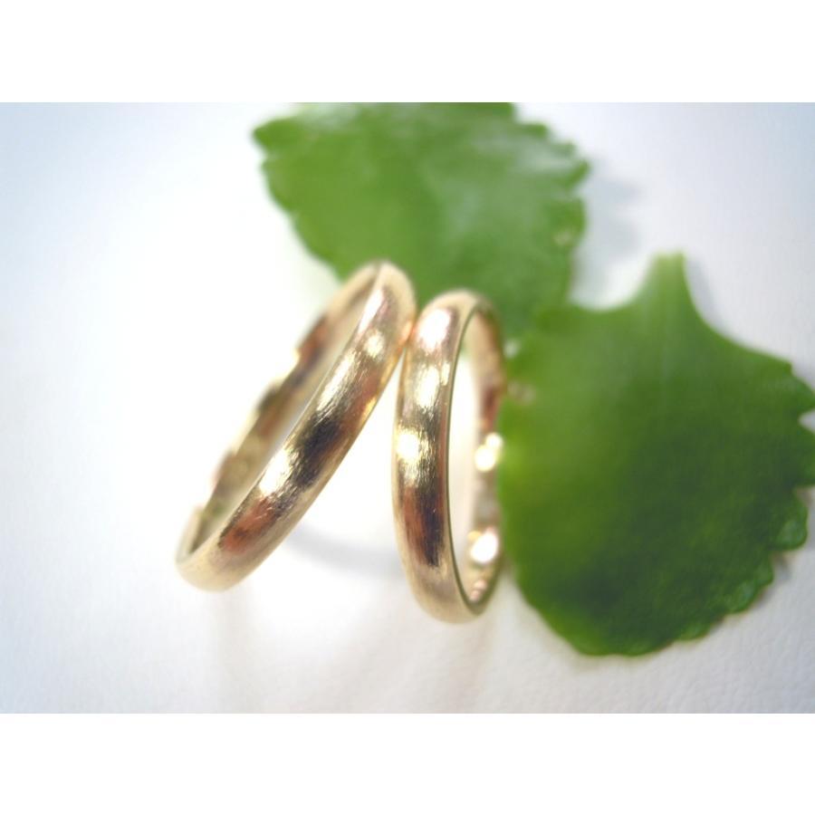 ゴールド 結婚指輪【本物の鍛造】k18荒仕上げのシンプルな甲丸リング&内甲丸で最高の着け心地! kouki 21