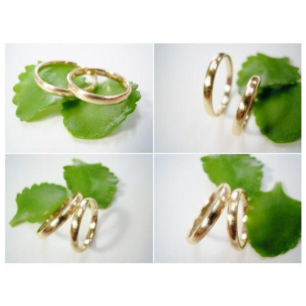 ゴールド 結婚指輪【本物の鍛造】k18荒仕上げのシンプルな甲丸リング&内甲丸で最高の着け心地! kouki 05