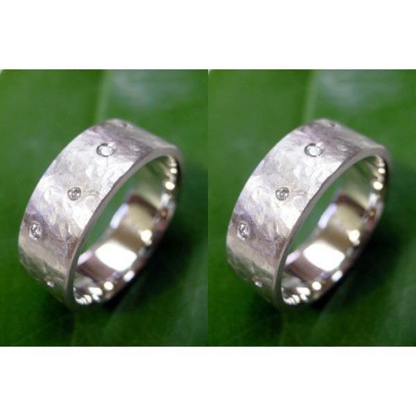 プラチナ 結婚指輪【本物の鍛造】超幅広&超極太の艶消し平打ちリングが凄い!ダイヤを散りばめて槌目で仕上げる!|kouki