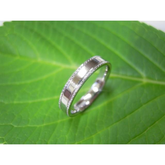 プラチナ 結婚指輪【本物の鍛造】太め鏡面の平打ちリング&フチにミル打ちを打ち込んだ美しいデザイン! kouki 05