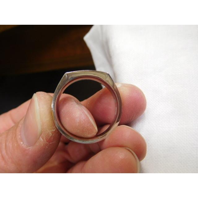 プラチナ 結婚指輪【本物の鍛造】使いやすいように薄めに作った横長角印台リング【鏡面仕上げ】シンプルなのにお洒落な印台デザイン! kouki 20