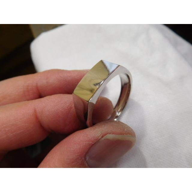 プラチナ 結婚指輪【本物の鍛造】使いやすいように薄めに作った横長角印台リング【鏡面仕上げ】シンプルなのにお洒落な印台デザイン! kouki 21