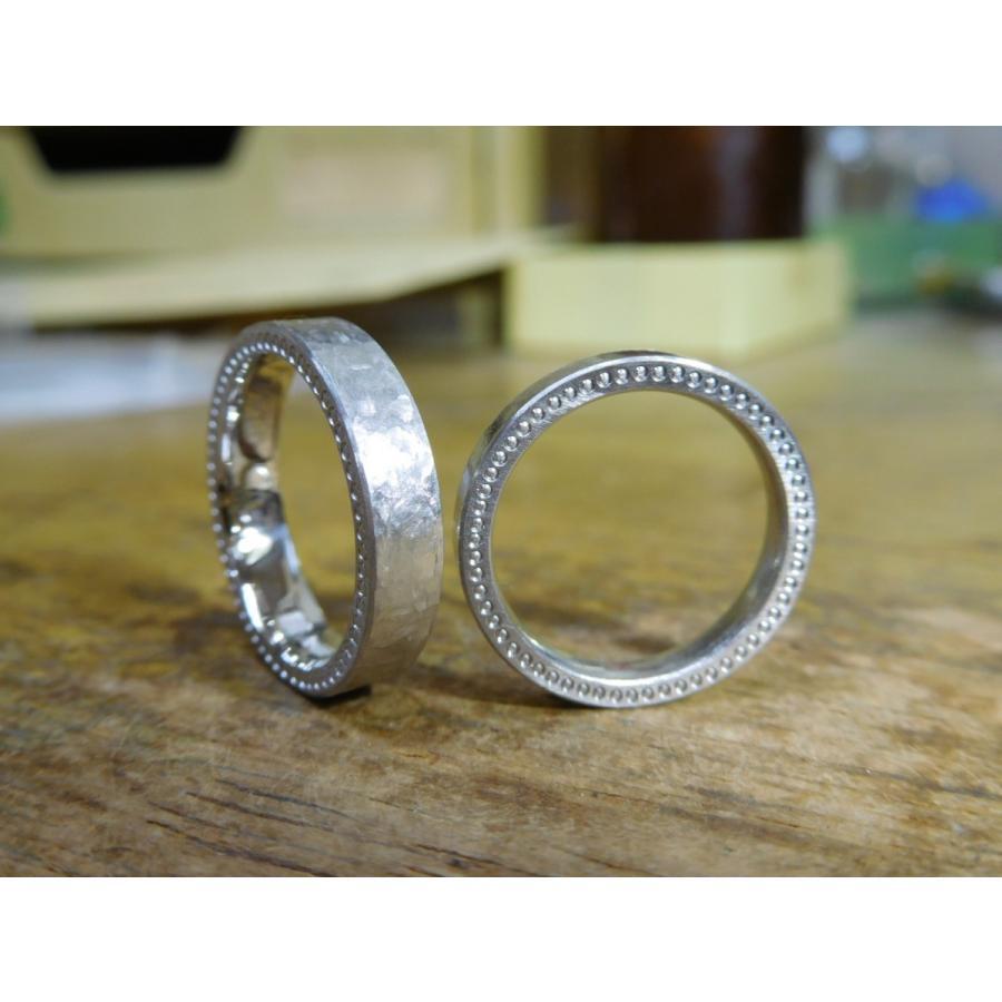 プラチナ 結婚指輪【本物の鍛造】幅広で分厚い平打ちリング!表面は叩き出し&側面はミル打ち kouki