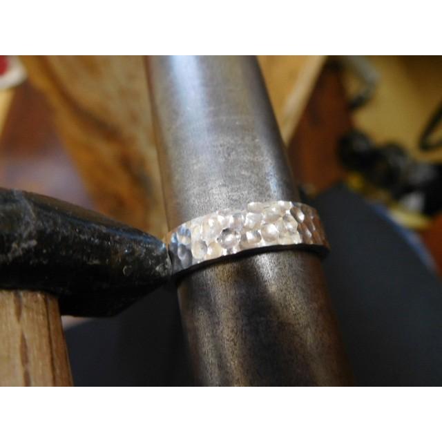 プラチナ 結婚指輪【本物の鍛造】平打ちに深い艶消しの槌目が美しい! 男性5ミリ幅 女性3ミリ幅 kouki 05
