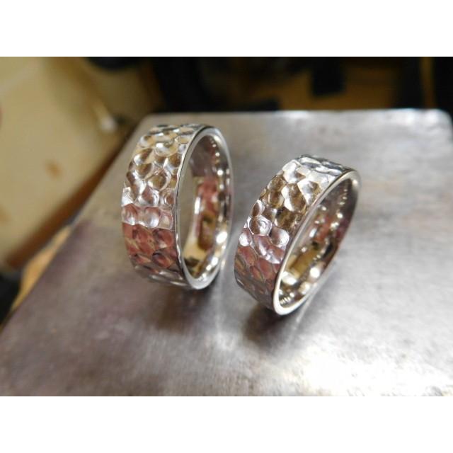 プラチナ 結婚指輪【本物の鍛造】幅広い平打ちに深い光沢の槌目が半端ない! 男性7ミリ幅 女性6ミリ幅|kouki|02