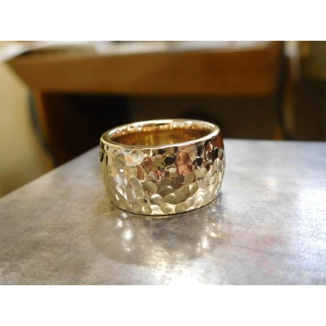 ゴールド 結婚指輪【本物の鍛造】鬼極太の深い槌目がインパクト満点! 男性12ミリ 女性10ミリ|kouki|02