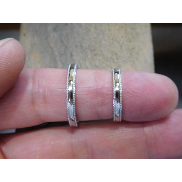 プラチナ 結婚指輪【本物の鍛造】シンプルな甲丸の両フチに 小さいミル打ち 幅2.6ミリ kouki 05