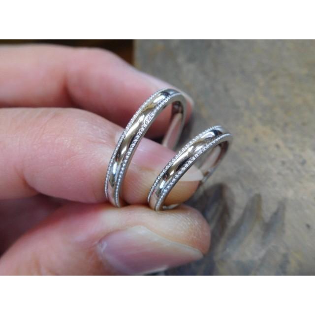 プラチナ 結婚指輪【本物の鍛造】シンプルな甲丸の両フチに 小さいミル打ち 幅2.6ミリ kouki 06