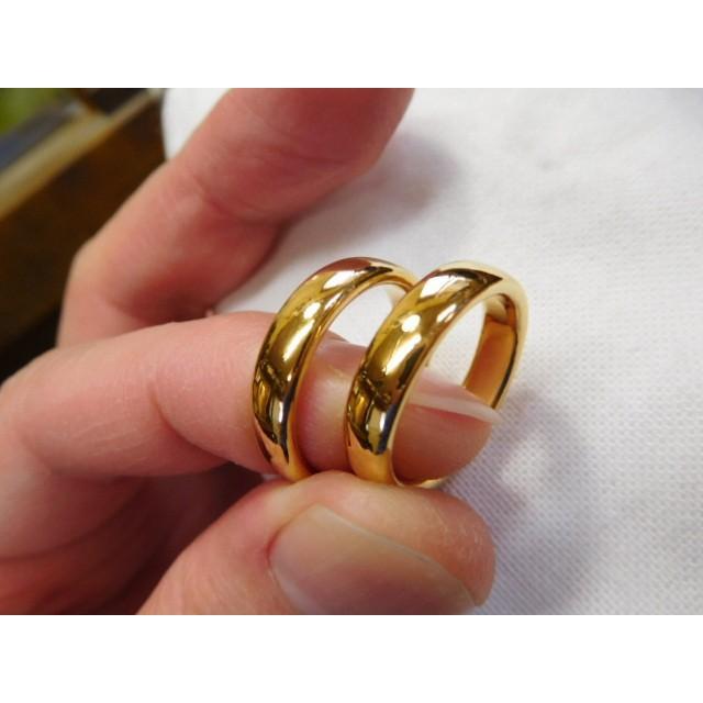 純金 結婚指輪【本物の鍛造】ツルツルに滑らかで着け心地の良さ抜群!シンプルな平甲丸 kouki 03