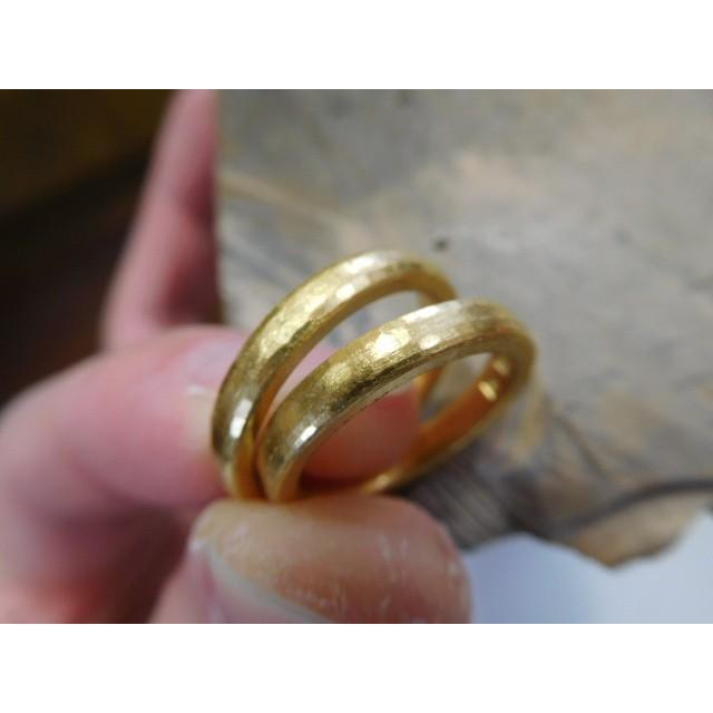 純金 結婚指輪【本物の鍛造】純金の槌目が美しい! シンプルな甲丸&幅3ミリ kouki