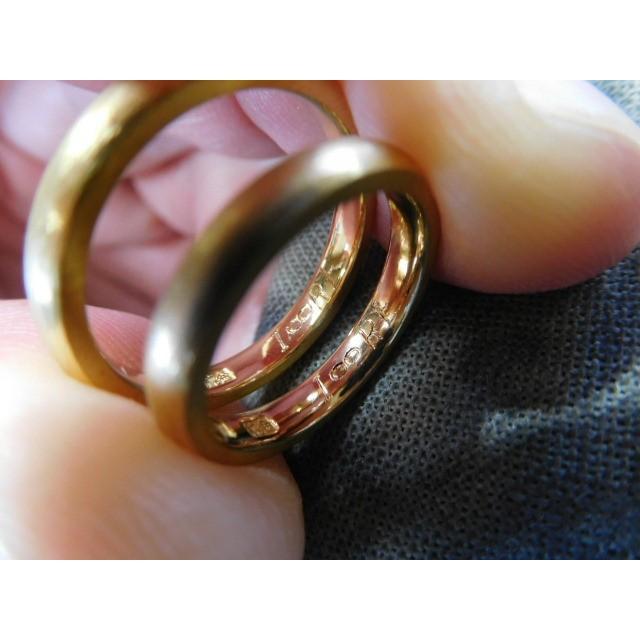純金 結婚指輪【本物の鍛造】純金の荒仕上げが美しい!シンプルな甲丸&幅3ミリ kouki 05