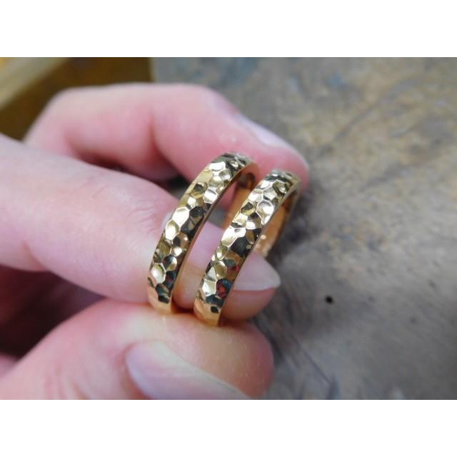 ゴールド 結婚指輪【本物の鍛造】槌目の甲丸&光沢 男性用3.5ミリ幅 女性用3ミリ幅|kouki