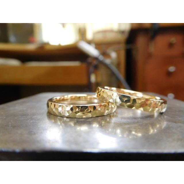 ゴールド 結婚指輪【本物の鍛造】槌目の甲丸&光沢 男性用3.5ミリ幅 女性用3ミリ幅|kouki|02