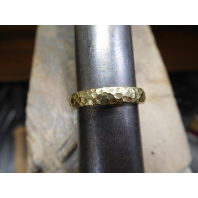 ゴールド 結婚指輪【本物の鍛造】槌目の甲丸&光沢 男性用3.5ミリ幅 女性用3ミリ幅|kouki|12
