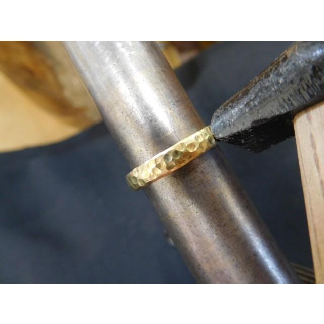 ゴールド 結婚指輪【本物の鍛造】槌目の甲丸&光沢 男性用3.5ミリ幅 女性用3ミリ幅|kouki|14