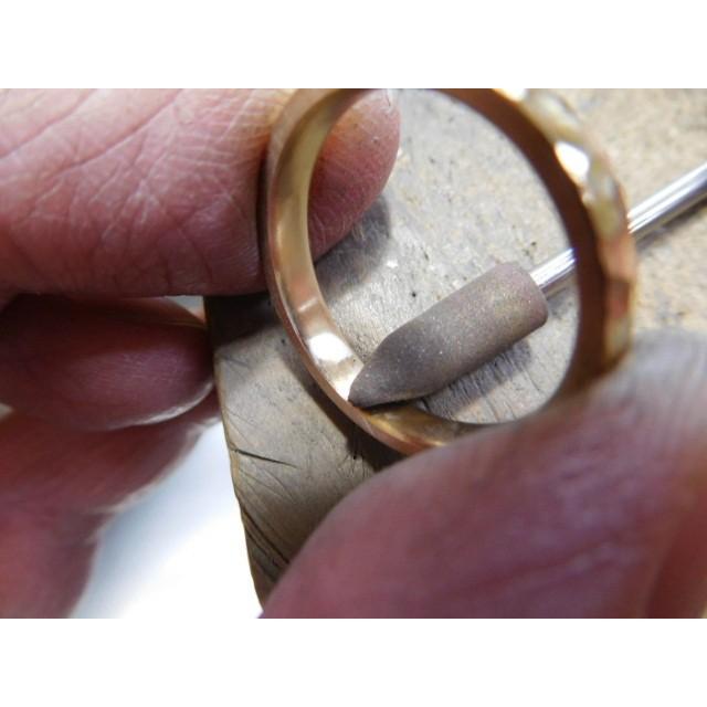 ゴールド 結婚指輪【本物の鍛造】槌目の甲丸&光沢 男性用3.5ミリ幅 女性用3ミリ幅|kouki|06