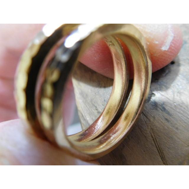 ゴールド 結婚指輪【本物の鍛造】槌目の甲丸&光沢 男性用3.5ミリ幅 女性用3ミリ幅|kouki|08