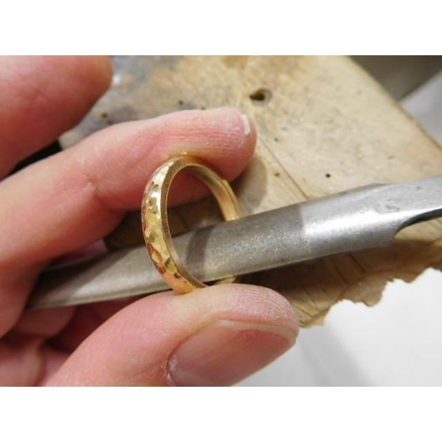 ゴールド 結婚指輪【本物の鍛造】槌目の甲丸&光沢 男性用3.5ミリ幅 女性用3ミリ幅|kouki|09