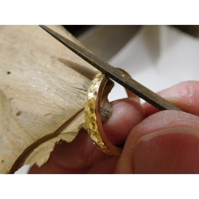 ゴールド 結婚指輪【本物の鍛造】槌目の甲丸&光沢 男性用3.5ミリ幅 女性用3ミリ幅|kouki|10