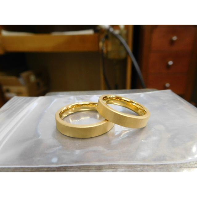 純金 結婚指輪【本物の鍛造】浅い槌目の艶消しが繊細で綺麗! 4ミリ幅の平打ちデザインがシンプルでGOOD|kouki|02