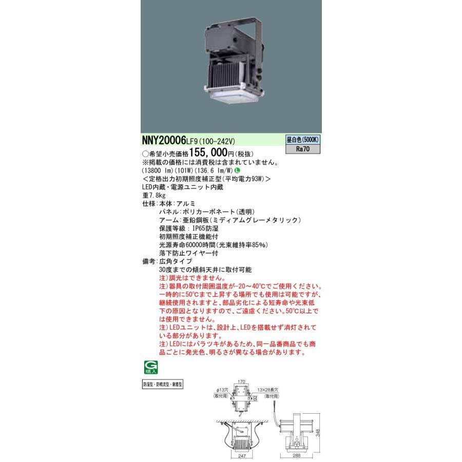 【送料無料】パナソニック NNY20006LF9 高天井用照明器具 広角タイプ 防湿型・防噴流型・耐塵型・定格出力初期照度補正型 パネル付型