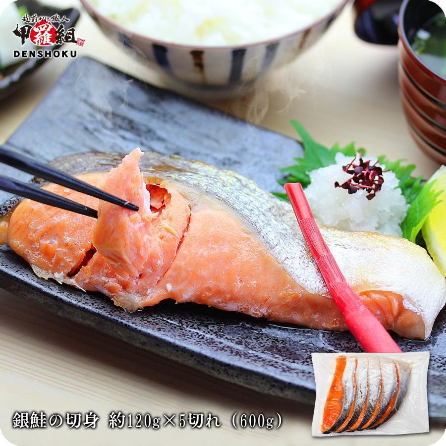 カット済みで食べやすい 脂のり抜群 銀鮭の切身 120g前後×5切れ 600g 銀鮭 プレゼント 鮭 甘塩 商品 贈り物 低価格化