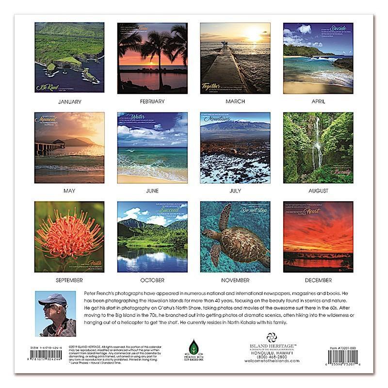 Sale! 2020年 アイランドヘリテイジ社 ハワイ カレンダー 2020 Hawaiian Inspiration Peter French オアフ マウイ ハワイ島 夕日 ハワイアン雑貨 koyomi10 02