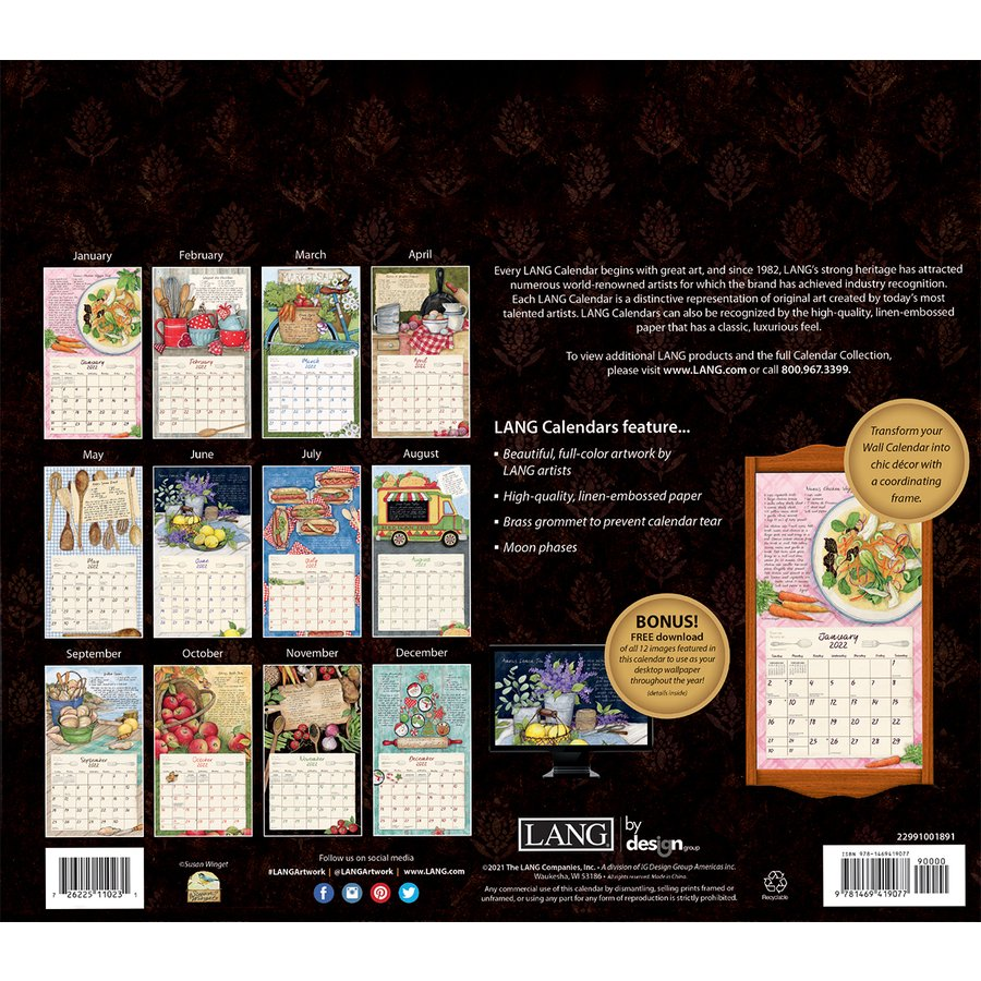 カバーにヤブレ有り 2021年 ラング社カレンダー Lang American Kitchen アメリカン・キッチン Susan Winget|koyomi10|02