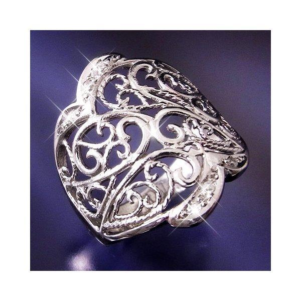 誕生日プレゼント 透かし彫りダイヤリング 指輪 17号, potch7 713a7663