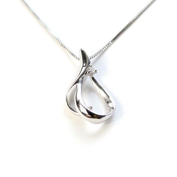【おまけ付】 しずく型 ハート ダイヤモンド ネックレス ペンダント ホワイトゴールド〔〕, [宅送] 2a285581