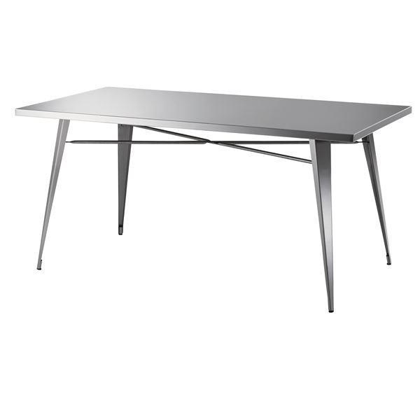 ステンレス製ダイニングテーブル/リビングテーブル 〔幅151cm〕 STN-334 〔ディスプレイ家具 什器〕