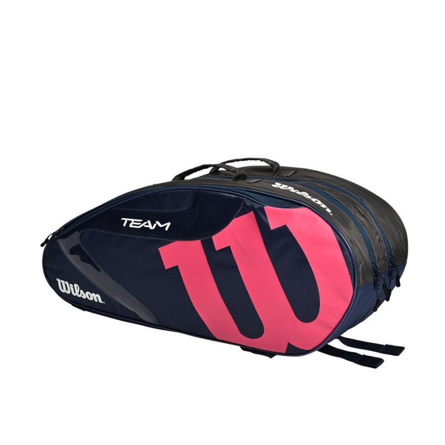 高額売筋 ウイルソン Wilson テニスバッグ ケース TEAMJ 低価格 1.0 ネイビー WR8014702001 6PK ピンク ラケットバッグ