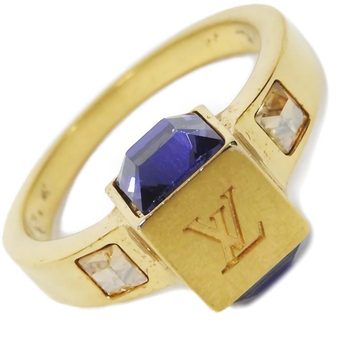 大人気新品 ルイヴィトン バーグ・ギャンブル Lサイズ 14号 スワロフスキー 真鍮 パープル×イエロー リング・指輪 M65097, handmade mamiri 4bff2200