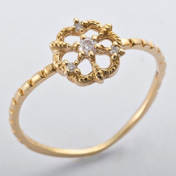 【おすすめ】 K10イエローゴールド 天然ダイヤリング 指輪 ダイヤ0.05ct 13号 アンティーク調 フラワーモチーフ, 雑貨のおもちゃ箱バーグ 82fd4fa3