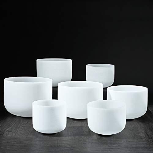 <新品>CVNC 432HZ 7-12 Inch Perfect Pitch Set of 7 PCS Frosted Quartz Crystal Singing Bowls