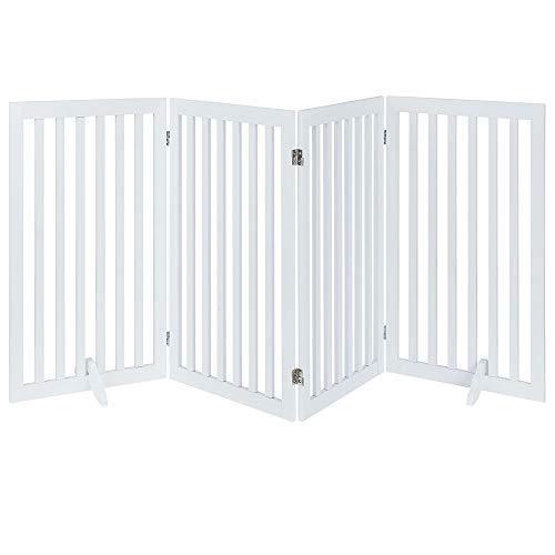 <新品>UniPaws 独立式の木製のペットドア,折り畳み犬,2つの足,犬の壁,室内ペット·,·段ドア 白い