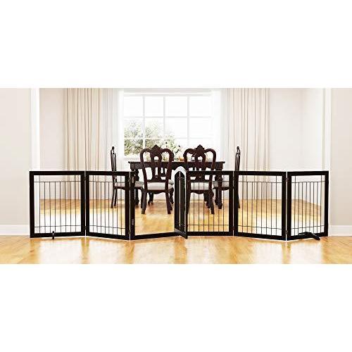 <新品>PAWLAND 144-inch Extra Wide 30-inches Tall Dog gate with Door Walk Through, Freestanding Wire Pet Gate for The House, Doorway, S