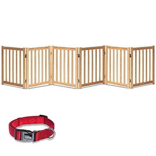 <新品>LZRS Oak Wood Foldable Pet Gate,Wooden Dog Gate,Cat Gate,Pet Gate with Pet Collar for House Doorway Stairs,Freestanding Gate Saf