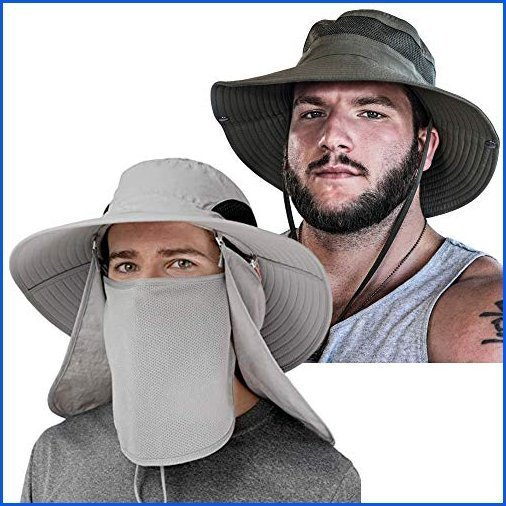 <新品>GearTOP Safari Cap and Fishing Hat with Flaps   Premium Outdoor Sun Protection Hats for Men & Women, Boonie Hats   Army Green Na