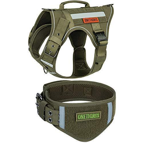 <新品>OneTigris Tactical Dog Harness and Collar Set, No Pulling Adjustable Pet Harness Reflective K9 Training Vest Military Service Do
