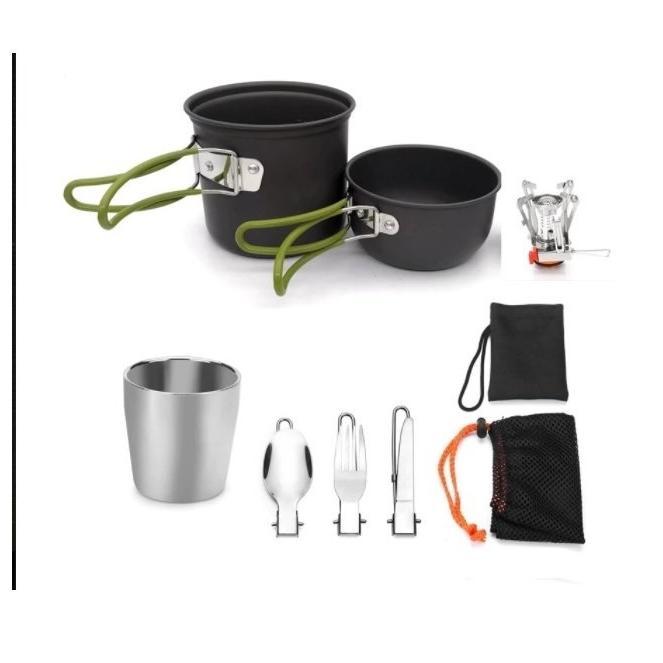 ソロキャンプ アウトドア クッカーセット ストーブ 付属 ガスストーブ バーナー バーベキュー 調理器具/釣り/飯盒 鍋/登山/防災/非常用|kshopmart