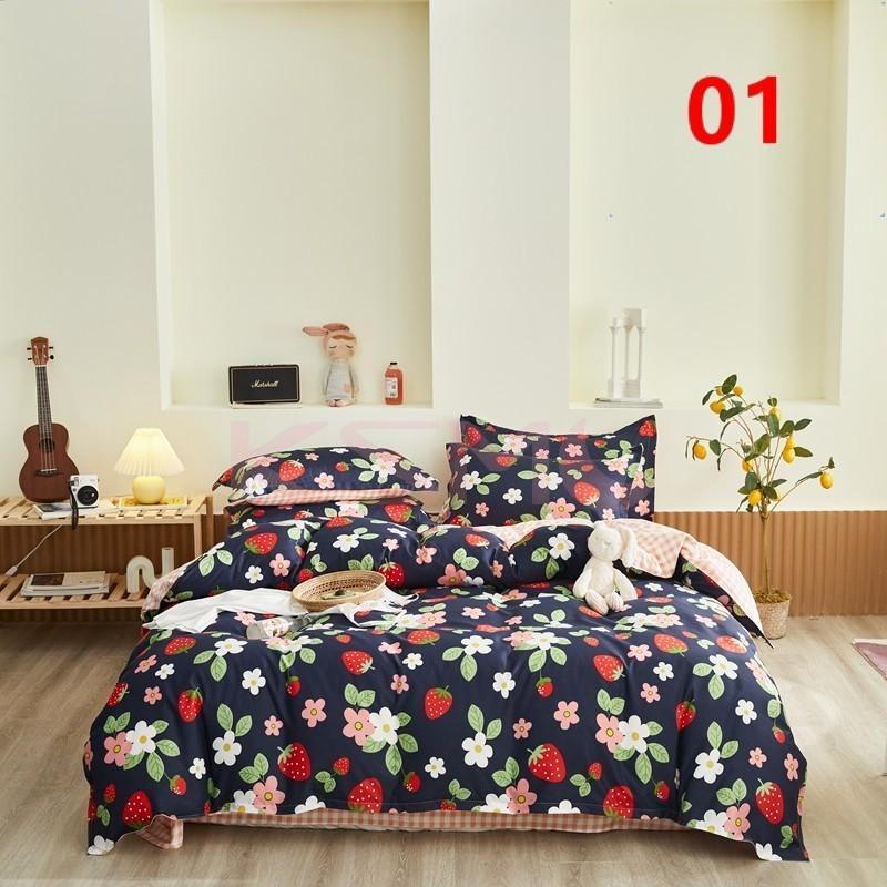 布団カバー 3点セット シングル ベッドカバー 寝具セット 枕カバー おしゃれ  ボックスシーツ 防臭 防ダニ 北欧風 コットン 柔らかい 可愛い 4点セミダブル|ksmc-shop|02