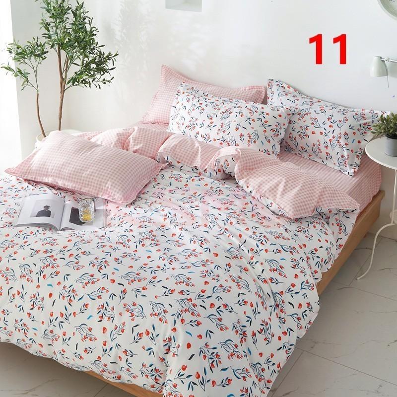 布団カバー 3点セット シングル ベッドカバー 寝具セット 枕カバー おしゃれ  ボックスシーツ 防臭 防ダニ 北欧風 コットン 柔らかい 可愛い 4点セミダブル|ksmc-shop|11